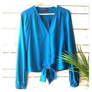Hale Bob teal blue silk tie-waist blouse M